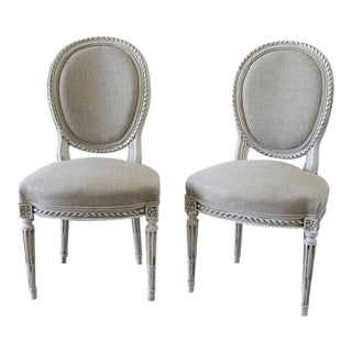 Late 19th Century Carved Louis XVI Side Chairs - A Pair For Sale