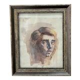 Image of Original Portrait Watercolor Painting For Sale