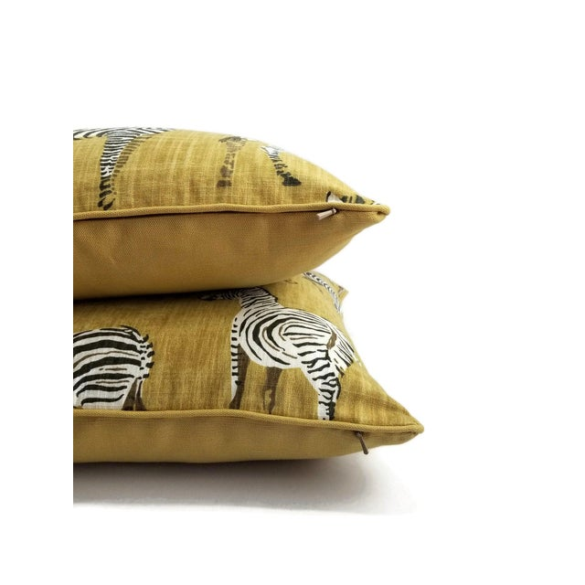 """Home Accents Ronnie Gold Africana in Gold Cotton Zebra Print Pillow Covers - a Pair, 20"""" X 20"""" For Sale In Portland, OR - Image 6 of 9"""