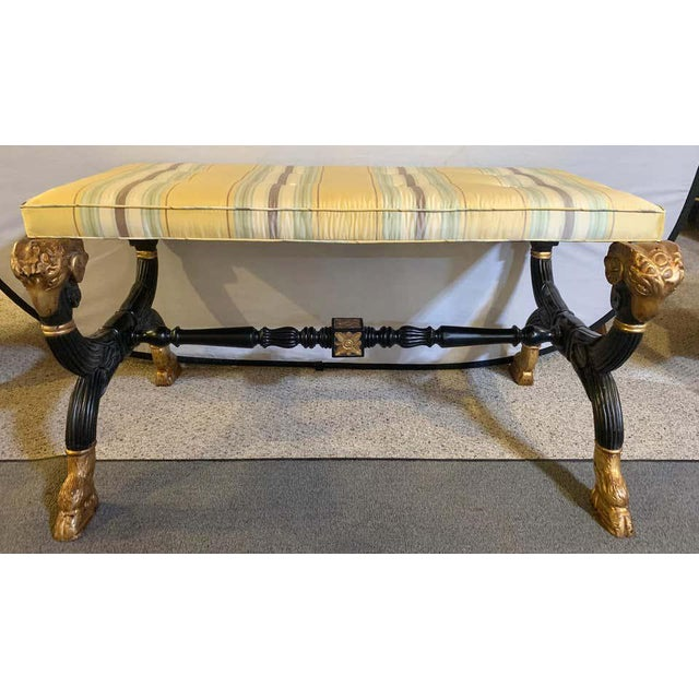 Light Yellow Ebonized & Gilt Benches Having Mantra Silk Scalamandre Upholstery - a Pair For Sale - Image 8 of 13