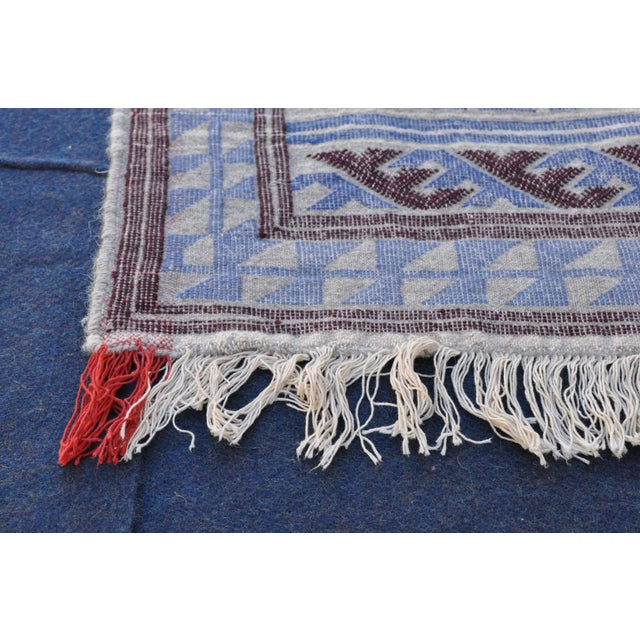 "Moroccan Flatweave Violet & Blue Rug - 4'10"" x 7' - Image 4 of 8"