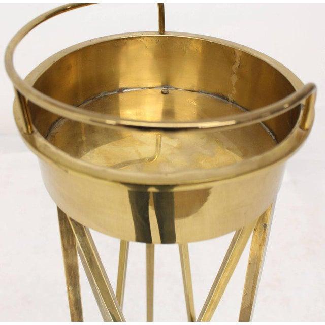 Mid-Century Modern Tall Braised Brass Plant Holder Pedestal For Sale - Image 6 of 9