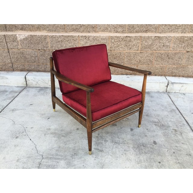 Mid Century Walnut and Velvet Lounge Chair - Image 2 of 5