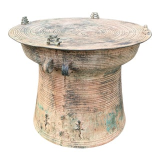 Early 20th Century Vintage Bronze Rain Drum Side Table For Sale