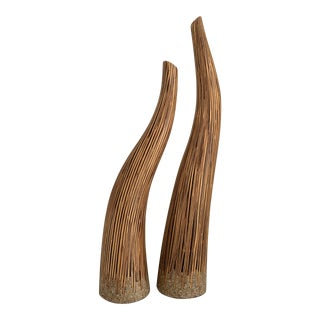 Decorative Sculptured Tessellated Bamboo Wood Horn Vases For Sale