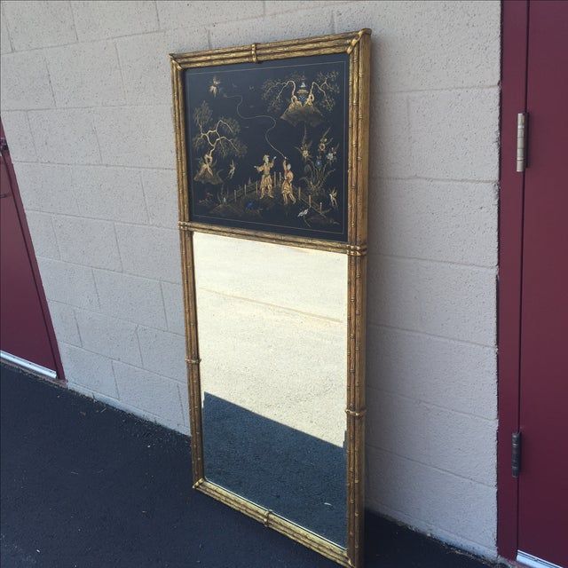 Gold Bamboo Chinoiserie Trumeau Mirror - Image 2 of 9