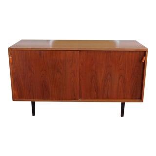 Restored Mid Century Modern 1950s Florence Knoll Walnut Double Sliding Door Cabinet