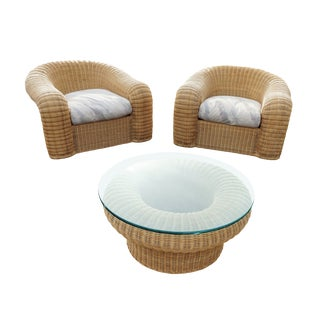 1980s Vintage Preview Wicker Seating Set- 3 Pieces For Sale