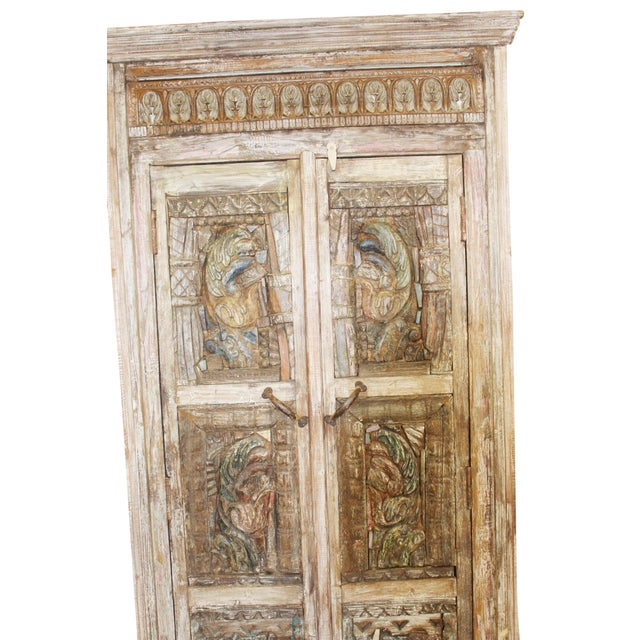 Wood Antique Haveli Carved Rustic Armoire For Sale - Image 7 of 9