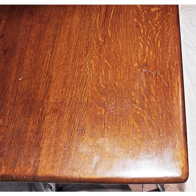 Brown 19th Century Early American Oak Writing Desk For Sale - Image 8 of 9