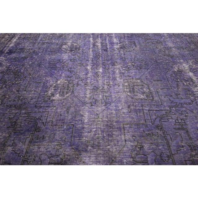"""Purple Overdyed Wool Rug - 9' 7"""" x 12' 9"""" - Image 8 of 10"""