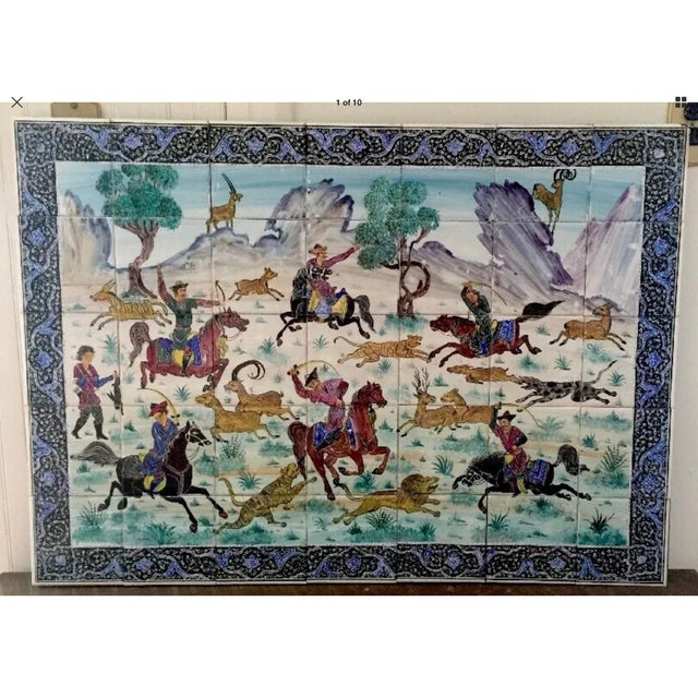 Blue Hand Painted Persian Tile Panel Hunt Scene / Persian Miniature Art Mosaic For Sale - Image 8 of 8