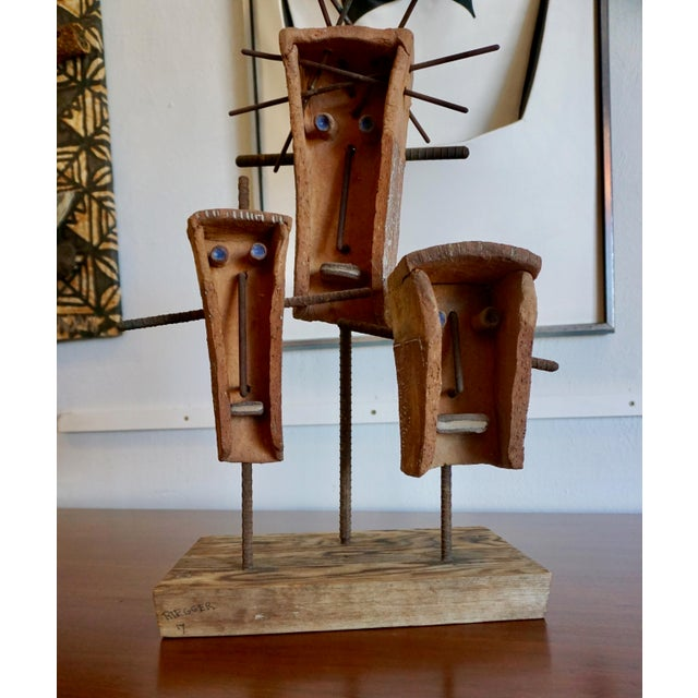 Abstract Hal Riegger Figurative Abstract Ceramic and Steel Sculpture For Sale - Image 3 of 9