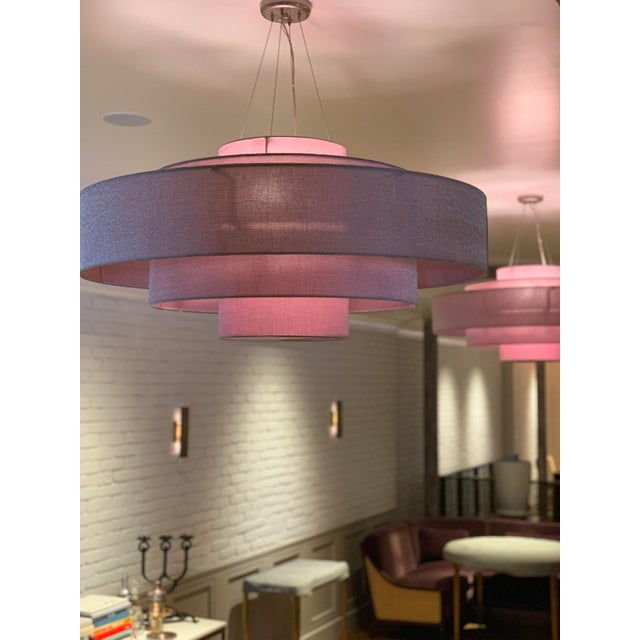 Textile Ochre Cloud Chandelier in Rose For Sale - Image 7 of 9
