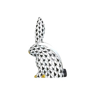 Vintage Black Herend Porcelain Rabbit Figurine For Sale