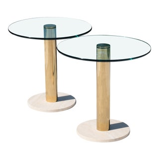 Accent Tables in Travertine & Brass by Pace Collection, Pair