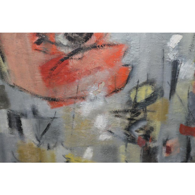 Canvas Mid Century Modern Abstract by Erika Baumgart c.1964 For Sale - Image 7 of 9