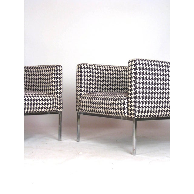 Houndstooth Chrome Club Chairs - A Pair - Image 6 of 6