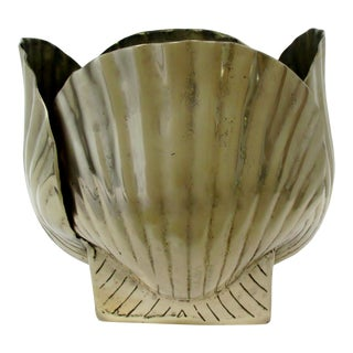 Vintage Brass Shell Jardiniere For Sale