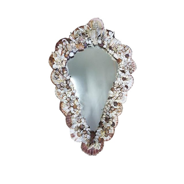 1970s 1970s Mid-Century Modern French Wall Mirror Adorned With Shells For Sale - Image 5 of 6