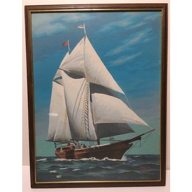 Mid-Century Painting by Number Sailing Schooner by Marie Lokey, 1974 - Image 2 of 4