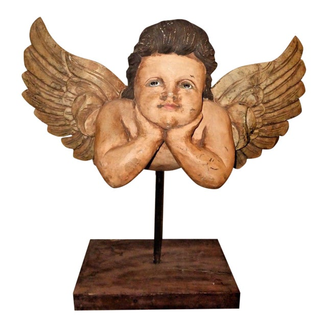 Vintage Hand Carved Cherub /Angel With Wings Figurine on Stand For Sale