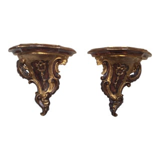 18th Century Style Gold & Brown Giltwoood Brackets - a Pair For Sale