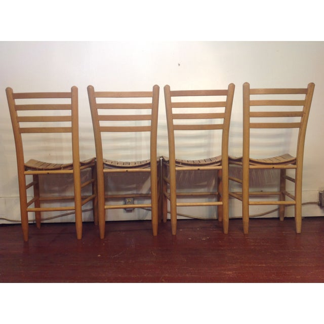 Vintage Sparrow Slat Ladder Back Chairs - Set of 4 - Image 9 of 9