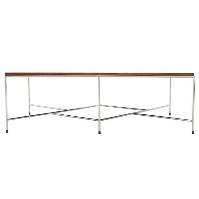 Metal Mid-Century Modern Z Base Stainless Base Wood Top Coffee Table For Sale - Image 7 of 10