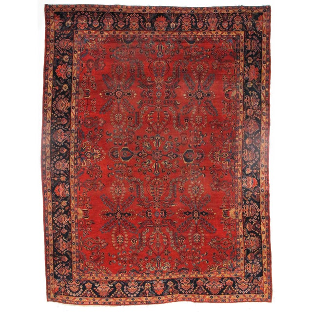 Early 20th Century Early 20th Century Antique Sarouk Mohajeran Rug - 10′5″ × 13′7″ For Sale - Image 5 of 5
