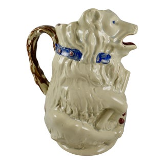 French Barbotine Majolica Circus Bear & Drum Pitcher