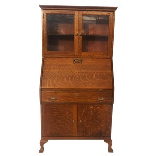 1930s Federal Quarter Sawn Oak Secretary Desk For Sale