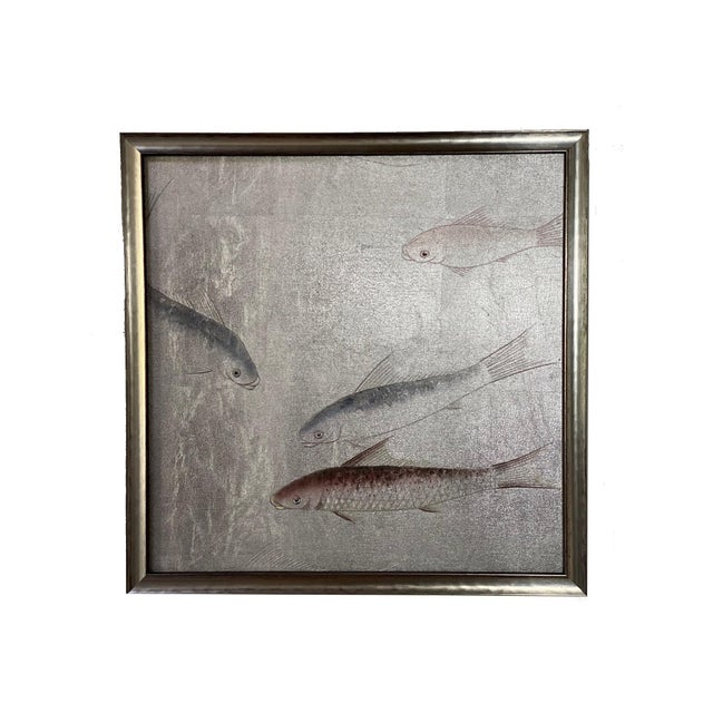 Chinoiserie Framed Koi Fish Hand Painted on Antiqued Silver Leaf Chinoiserie Wallpaper, Set of 6 For Sale - Image 3 of 9