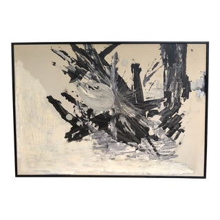 Large Oil on Canvas Black and White Abstract For Sale