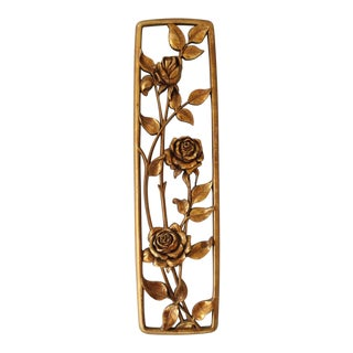 Vintage Syroco Wall Hanging Roses Flowers Gold Mid Century Wall Panel 3d For Sale