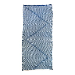 """Reversible Moroccan Zanafi Flat Woven Mini Wool Rug - 4'6"""" X 2 For Sale"""