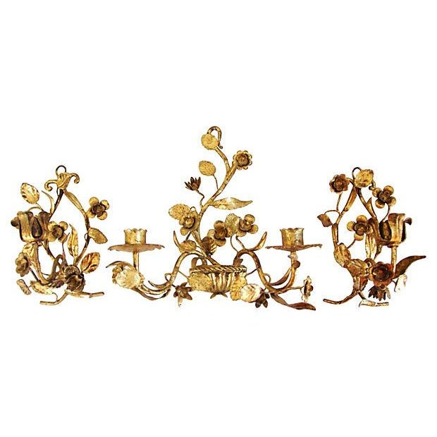 Italian Gold Gilt Candle Sconces - Set of 3 - Image 1 of 4