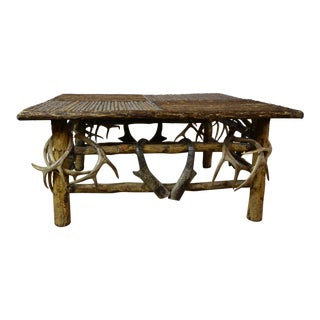 1970s Lodge Antler Coffee Table For Sale