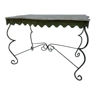Green Farmhouse Country Style Iron Table For Sale
