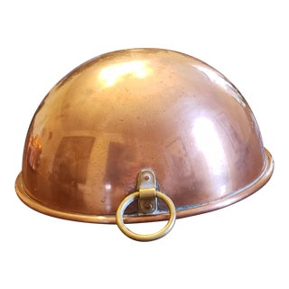 Vintage 1960s Copper Round Mixing Bowl Brass Wall Hook Tagus Portugal For Sale