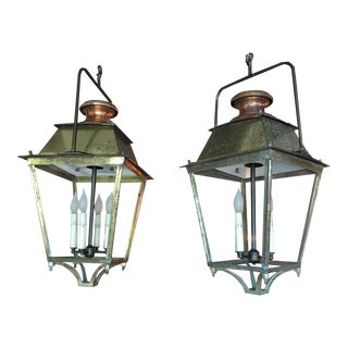 French Vintage Brass Lantern With Copper Accents, Newly Wired, Sold as a Pair For Sale