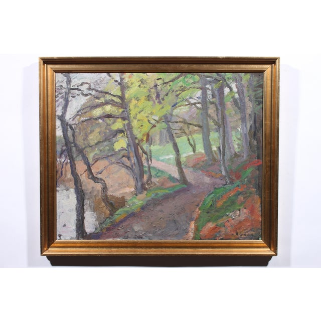 Lakeside, oil on canvas signed illegibly lower right corner and displayed in gilt wood frame.