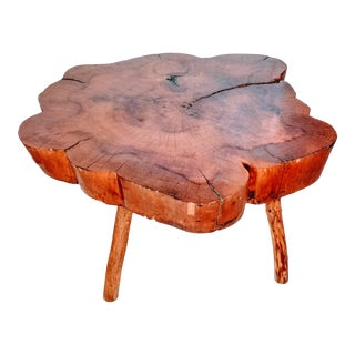 1960s Boho Chic Live Edge Cypress Side Table For Sale