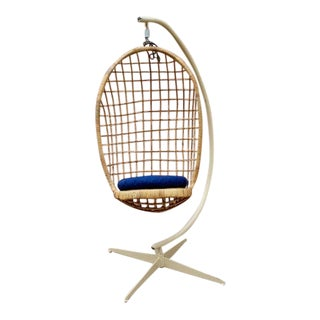 Vintage Boho Hanging Wicker Egg Chair