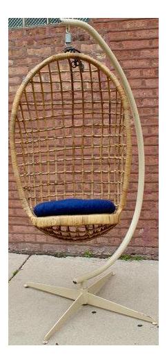 Vintage Boho Hanging Wicker Egg Chair