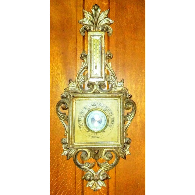 Vintage Italian Wood Tole Barometer Thermometer - Image 2 of 4