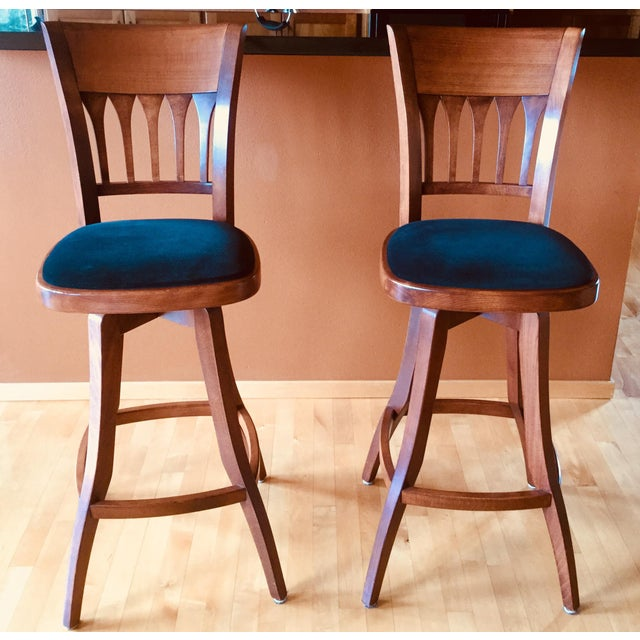 Contemporary Custom Bar Stools With Cushioned Seats - a Pair For Sale In Seattle - Image 6 of 6