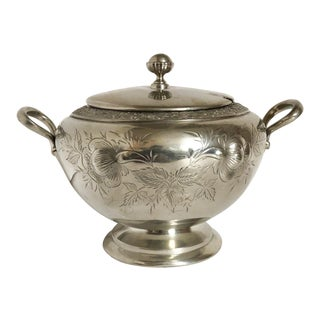 Antique Silver Plate Floral Tureen For Sale