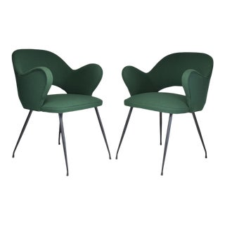1950s Pair of Italian Green Armchairs For Sale