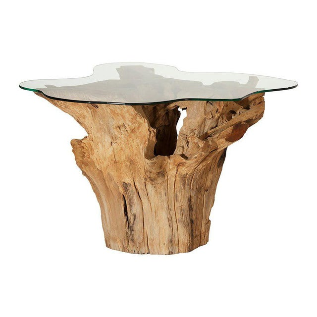 Weathered Teak Root Glass Top Dining Table Chairish